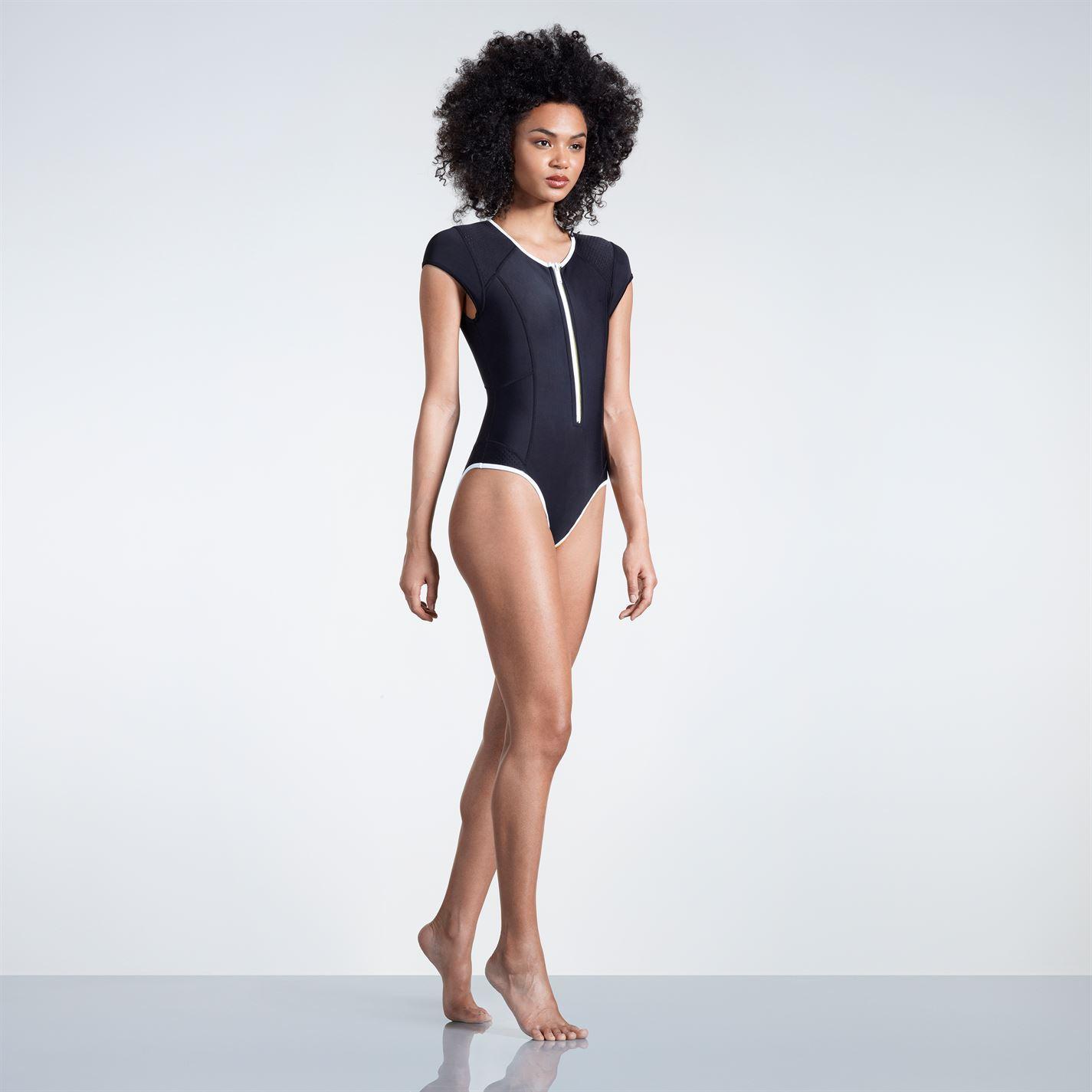 Slazenger Zip Short Sleeve Swimsuit Ladies Swimming Pool Seaside 1084 Trolley Case 28 Inc