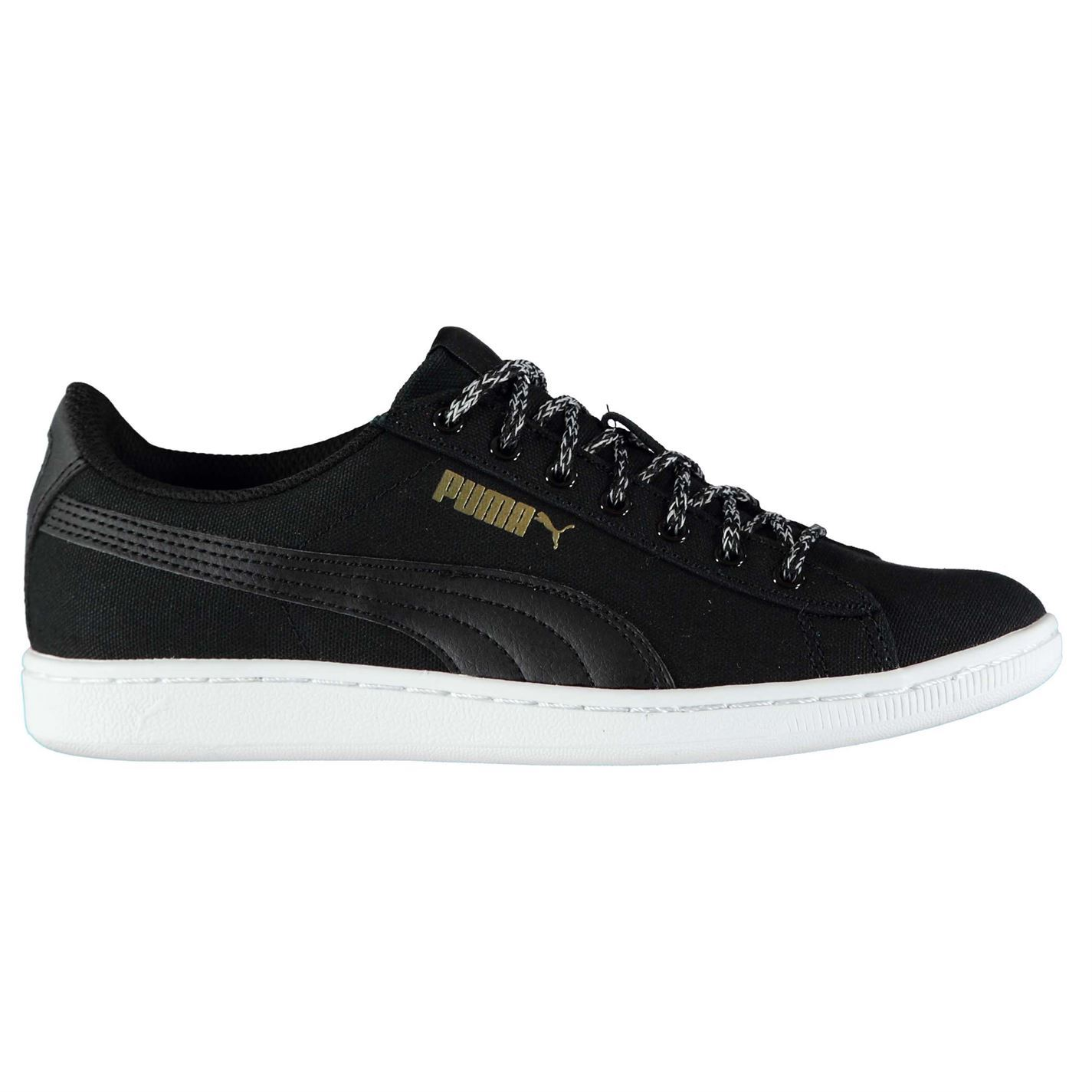 c60a8877333e Details about Puma Womens Vikky Canvas Low Lace Up Shoes Padded Ankle  Collar Textile Casual