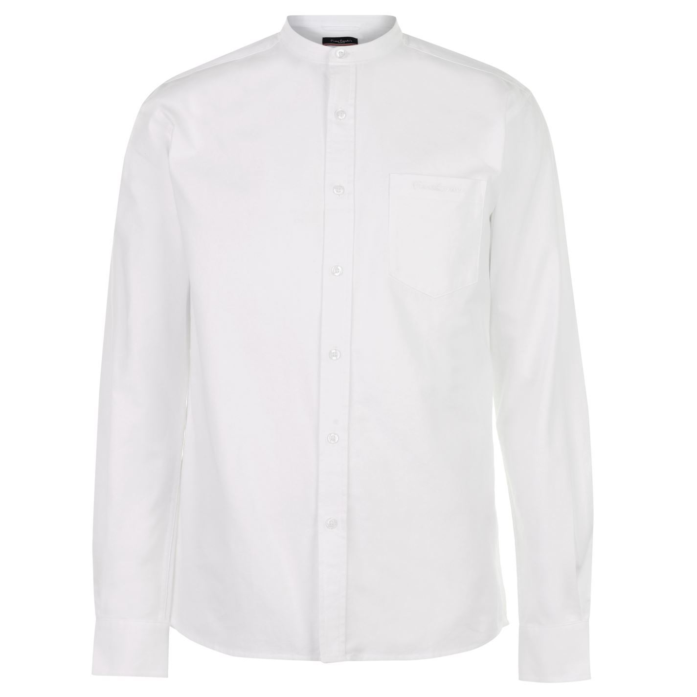 Pierre-Cardin-Mens-Grandad-Collar-Oxford-Shirt-Long-Sleeve-Casual-Cotton-Button
