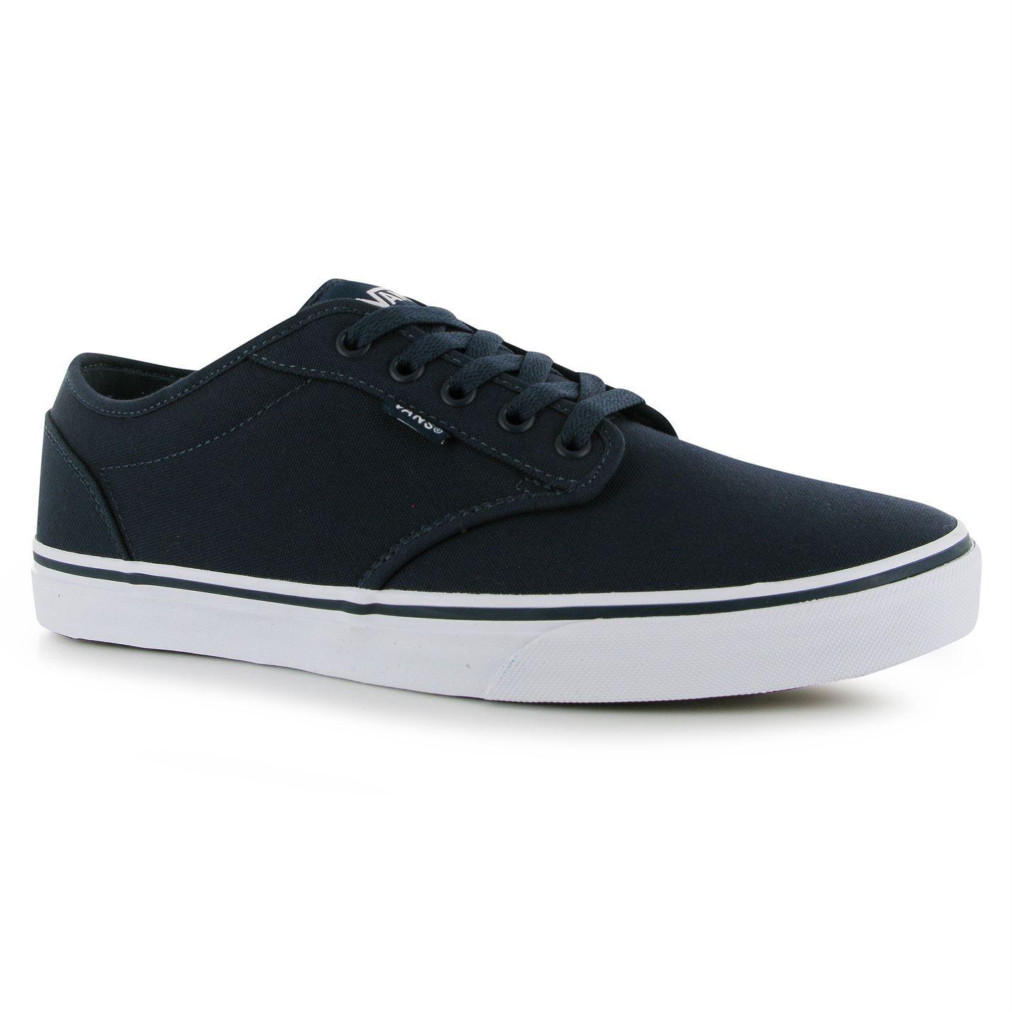VANS Atwood Canvas Shoes Plimsoles Lace up Gents Mens Navy white UK ... 505535f05a73