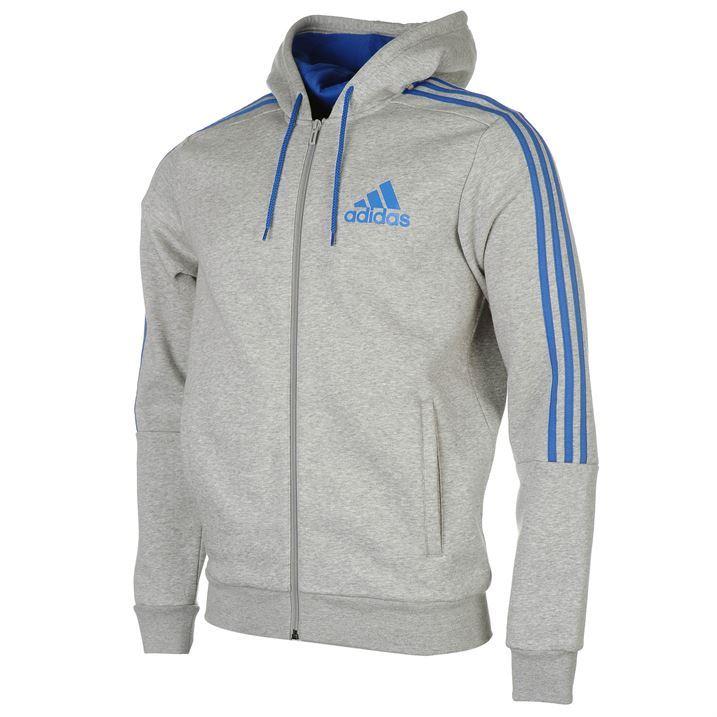 Adidas Mens Juventus 3 Stripe Full Zip Hoodie Hoody Hooded Top Black
