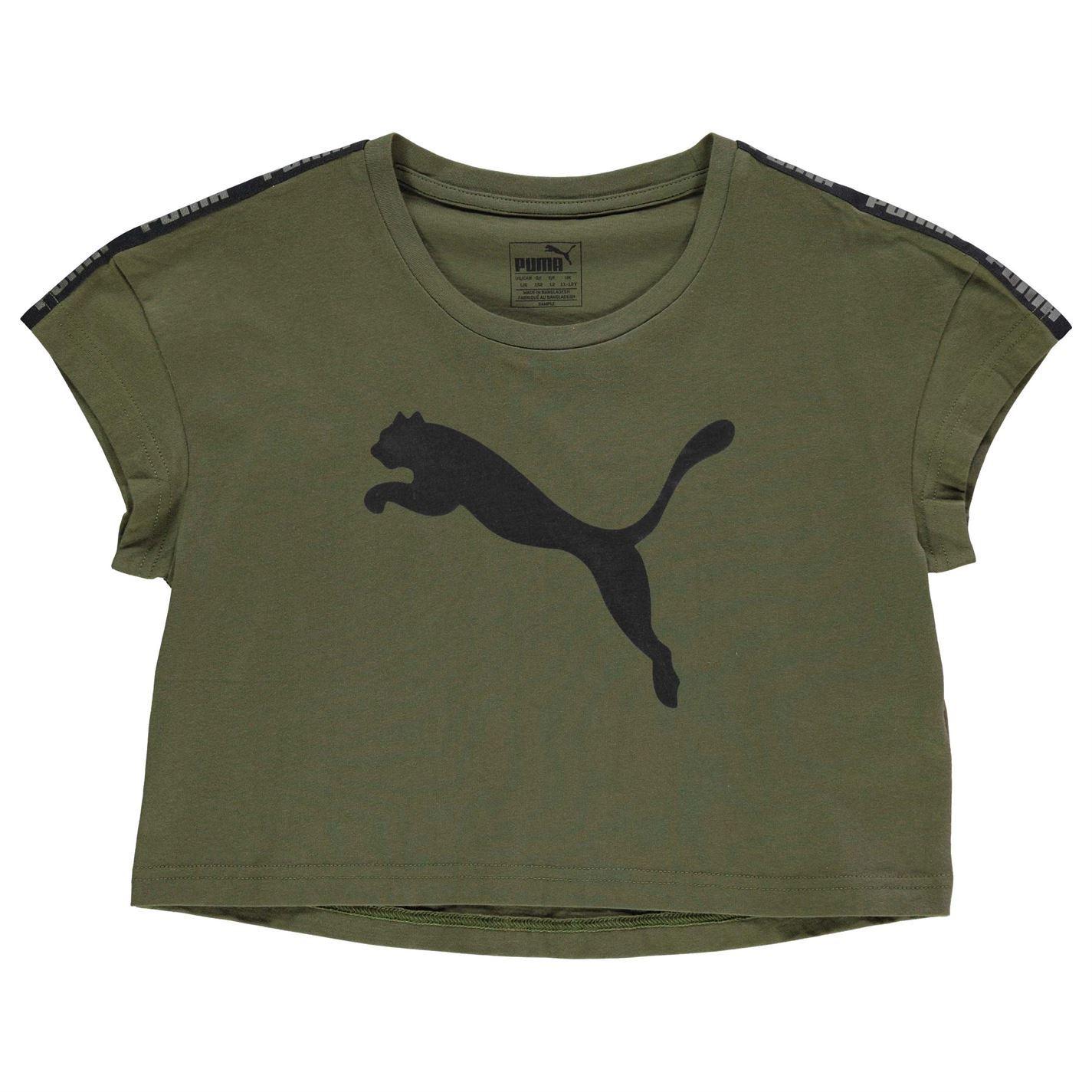 Puma Kids Girls Tape Crop Leisure T Shirt Junior Crew Neck Tee Top ... 02aca12ea4