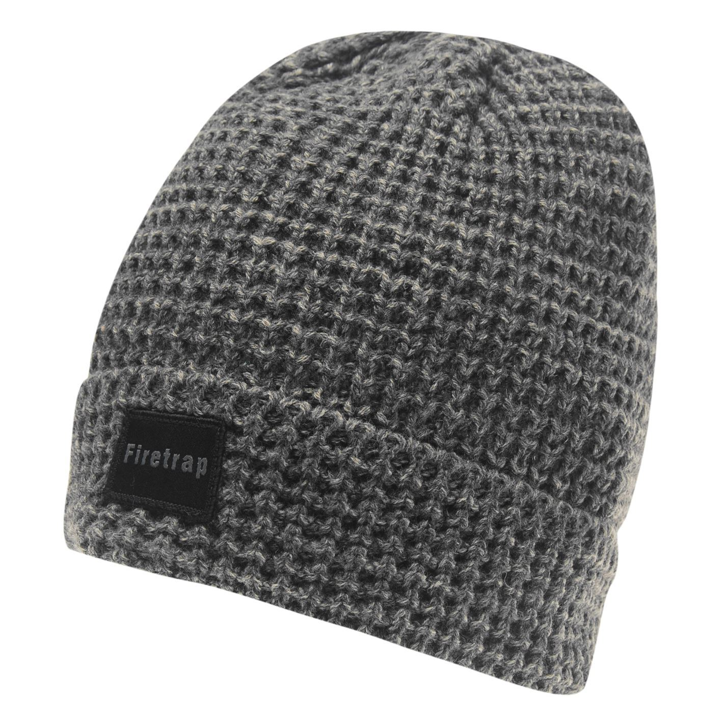 44e92323df3 MENS FIRETRAP GREY MARL CABLE HAT WOOLLY KNIT KNITTED SKI SKIING BOBBLE  BEANIE