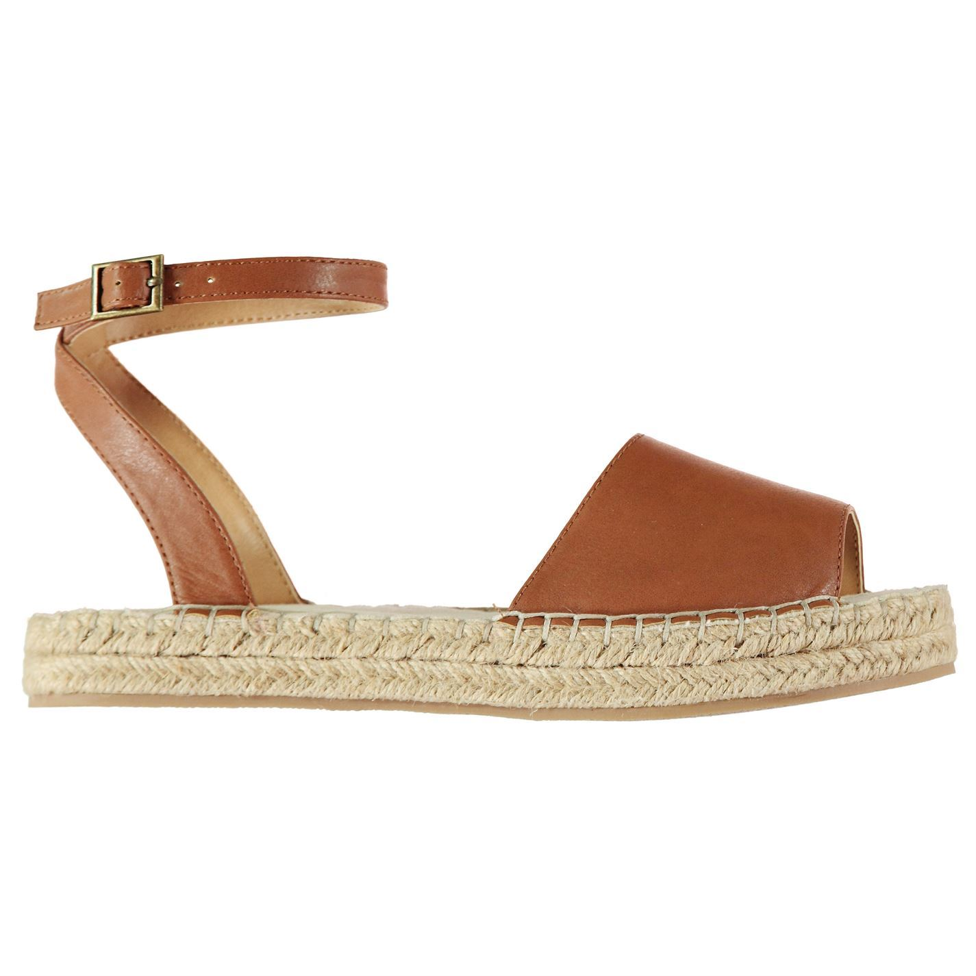 5ed4ce9a9ff Details about SoulCal Womens Espadrille Sandals Flat Buckle Fastening Ankle  Strap Summer