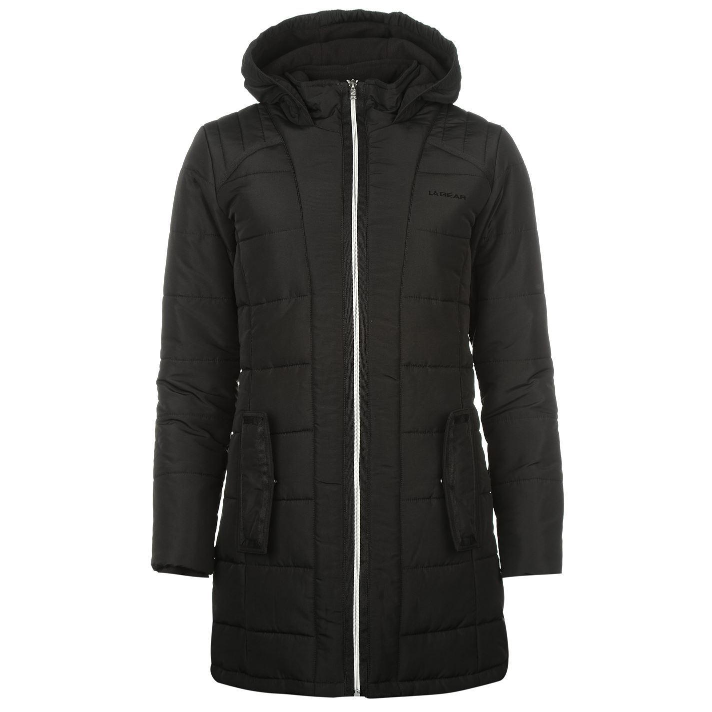Details about LA Gear Womens Long Jacket Padded Coat Top Lightweight Hooded  Zip Winter Warm cfeb7b3f4ac9