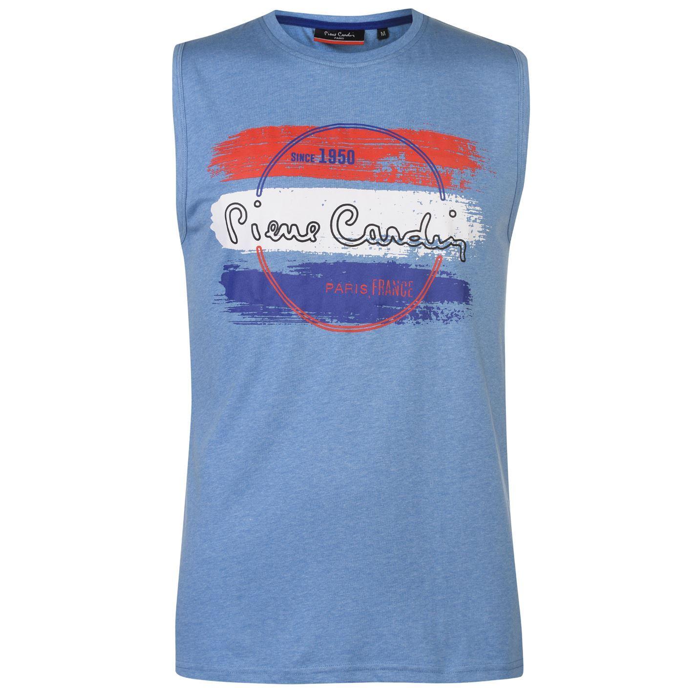 Pierre-Cardin-Mens-Graphic-Sleeveless-T-Shirt-Tee-Top-Round-Neck-Lightweight