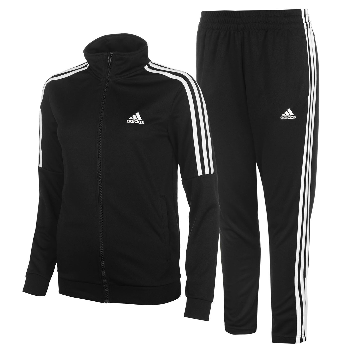 Adidas Womens Tiro Tracksuit Poly Zip Full Stripe Warm