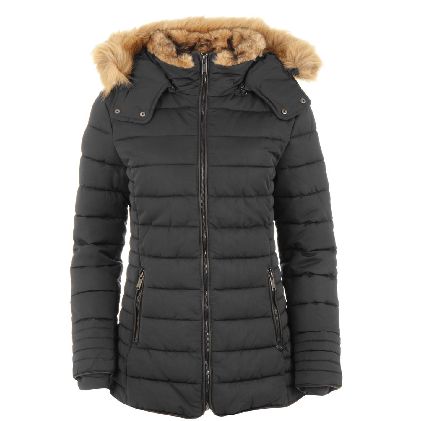 Image is loading Womens-Firetrap-Lux-Bubble-Jacket-Padded-Hooded-New 88f82a166
