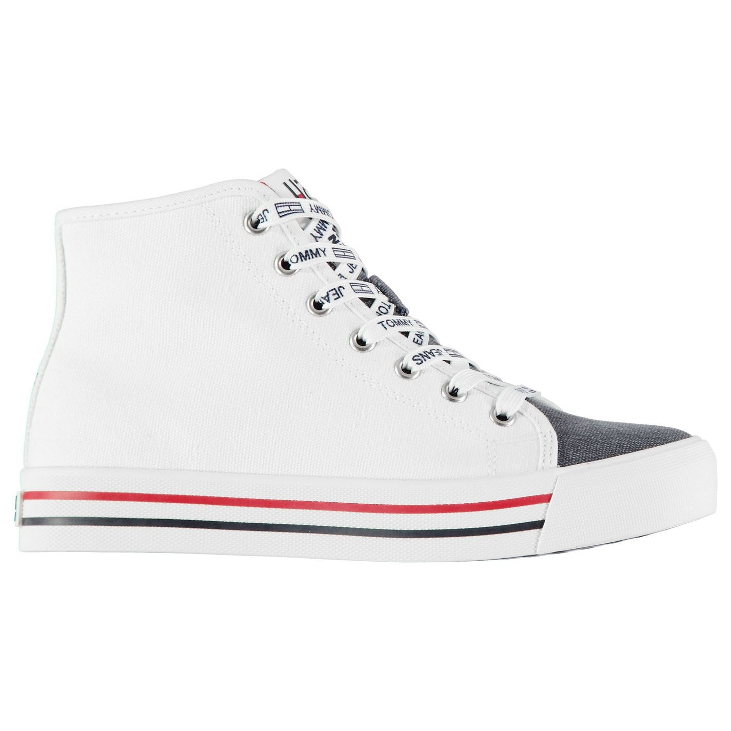 Damenschuhe Tommy Hilfiger Mid Cut Trainers Canvas Canvas Canvas High Lace Up TextuROT New 5b0d9a