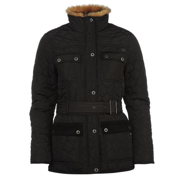 Firetrap-Womens-Kingdom-Jacket-Waist-Belt-Quilted-High-Neck-Warm-Full-Zip-Top