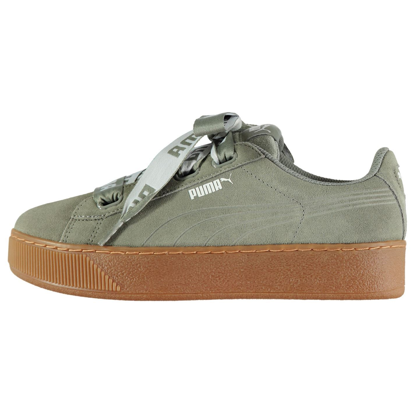 Puma Womens Vikky Platform Ribbon Trainers Suede Padded Ankle Collar Tongue dbe5e80a57
