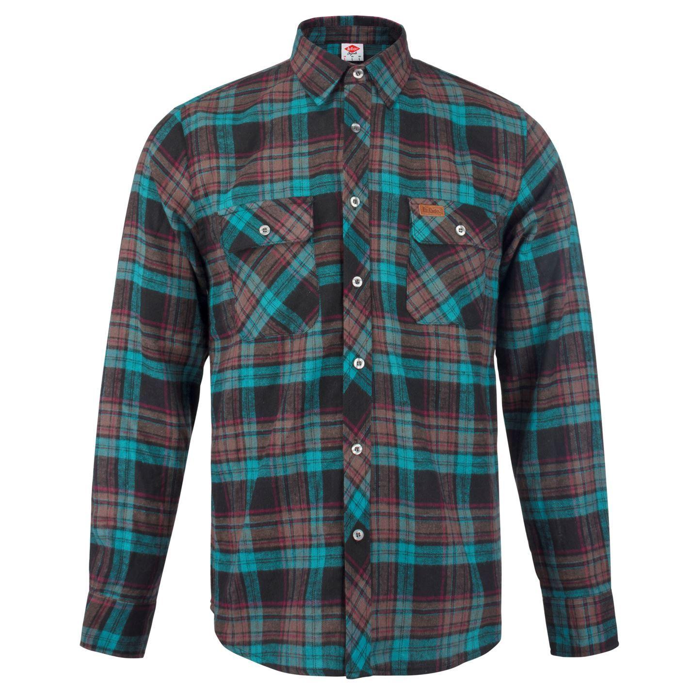 Lee-Cooper-Mens-Slim-Fit-Check-Shirt-Long-Sleeve-Casual