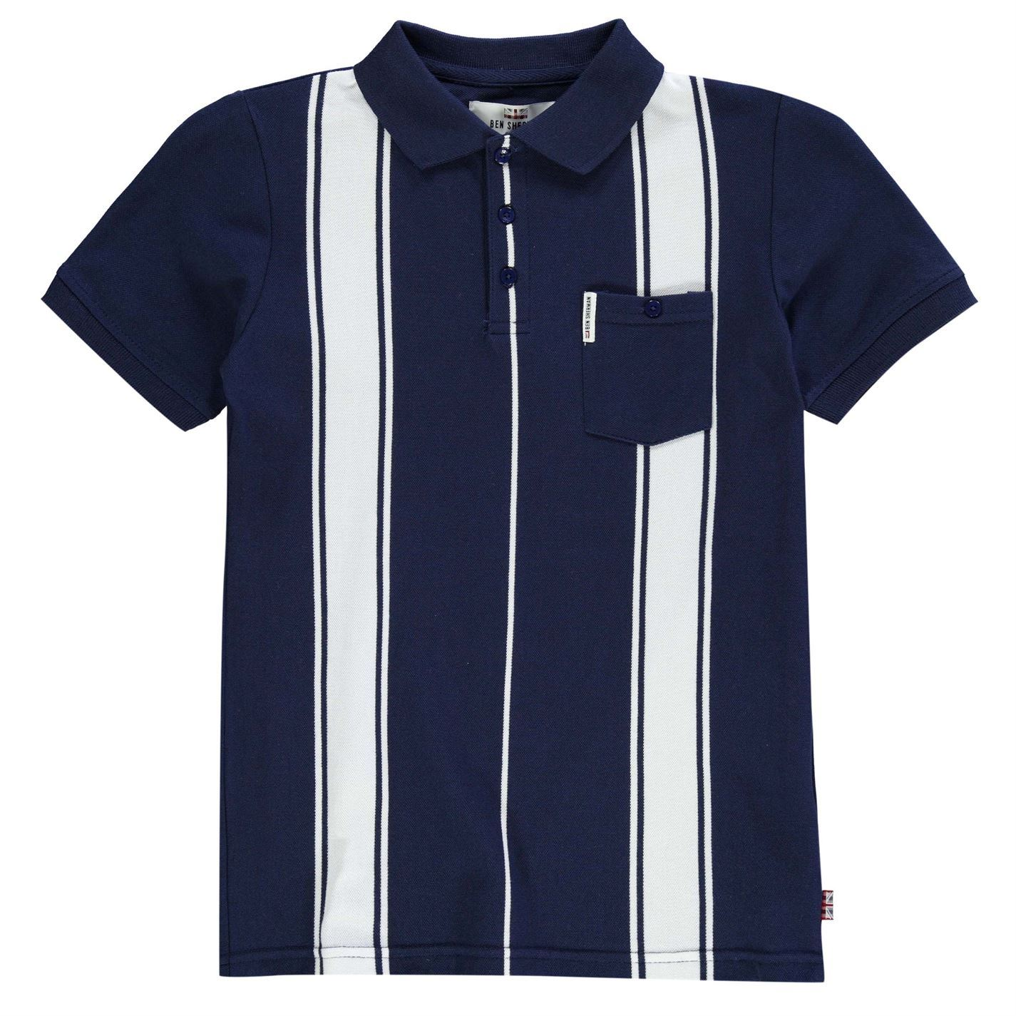 Ben Sherman Childs Vertical Stripe Polo Tee Shirt Top Boys Button Pocket Cotton