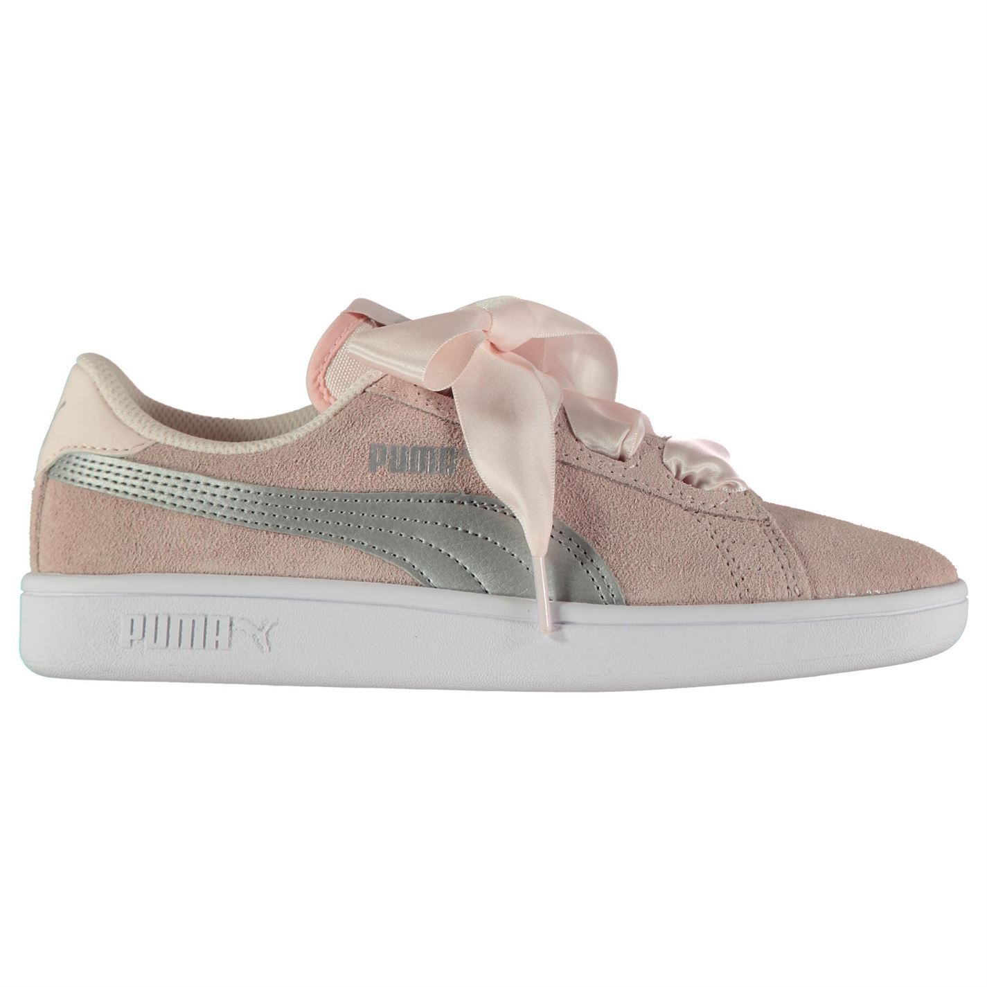 Details about Puma Kids Girls Smash Ribbon Trainers Court Suede Tonal  Stitching 821640024