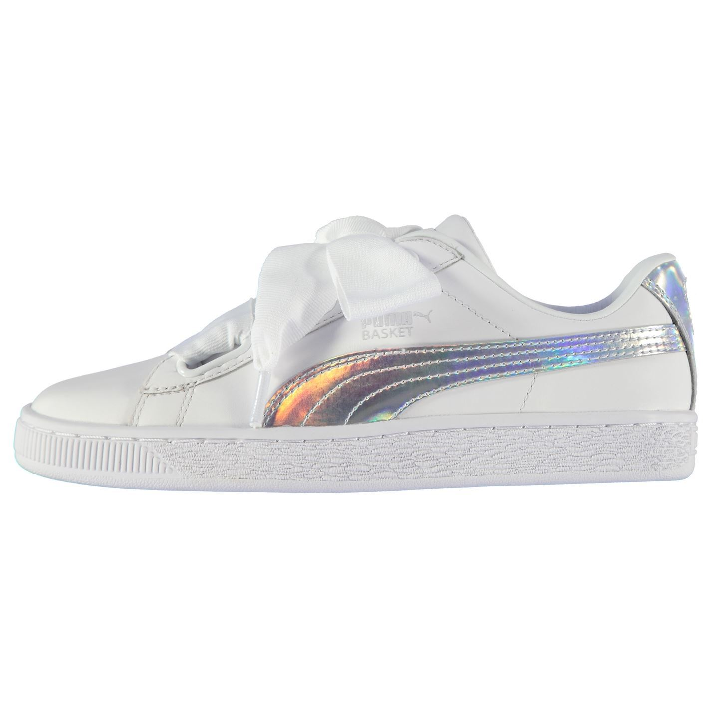 PUMA-Womens-Basket-Heart-Leather-Trainers-Lace-Up-Shoes-Padded-Collar