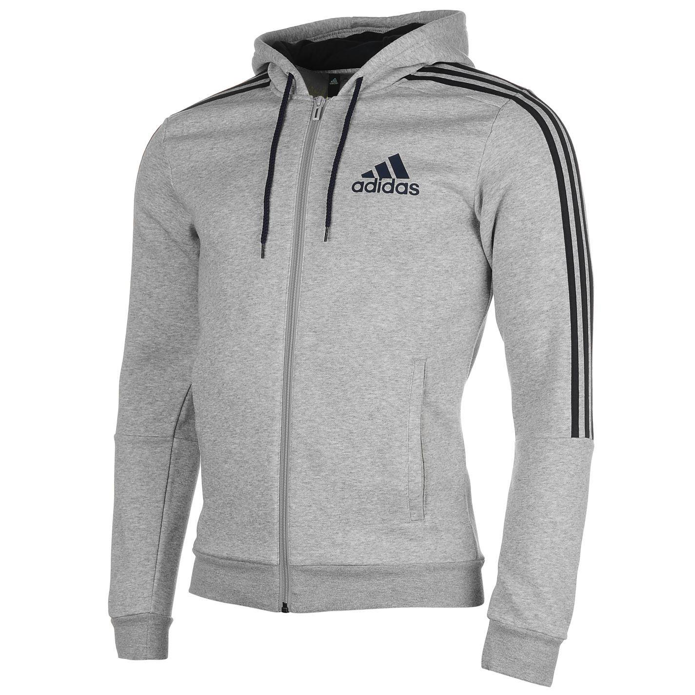 Adidas Mens 3 Stripe Hoody Full Zip Hoodie Long Sleeve