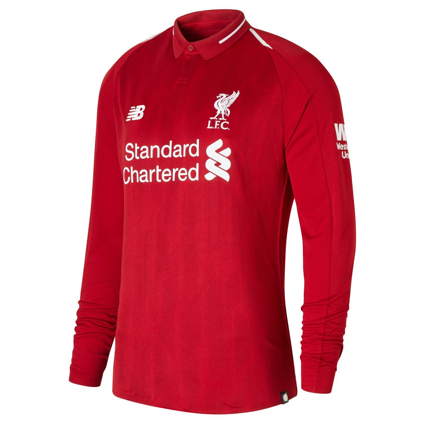 This New Balance Liverpool Long Sleeve Home Shirt 2018 2019 allows you to  support The Reds in style thanks to the sleek collar and ... 12087d2eb