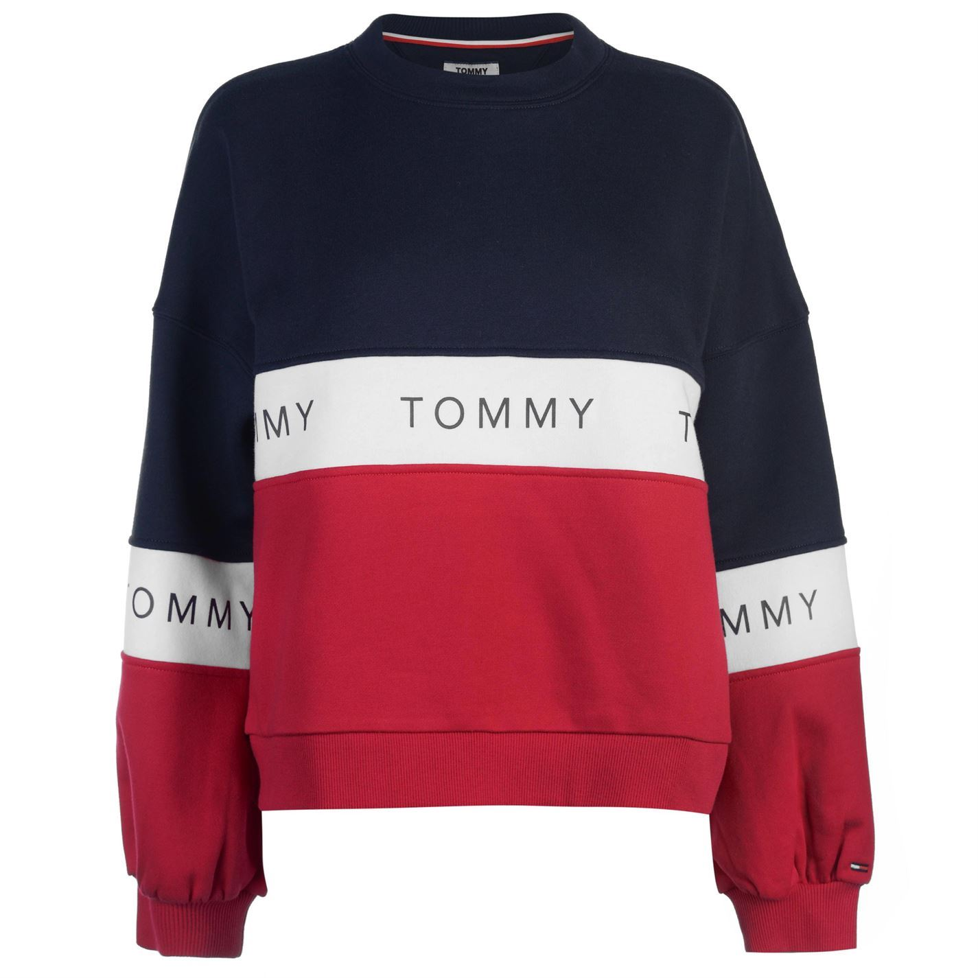 287836d9128f Womens Tommy Jeans Tri Colour Sweatshirt Crew Sweater Long Sleeve ...