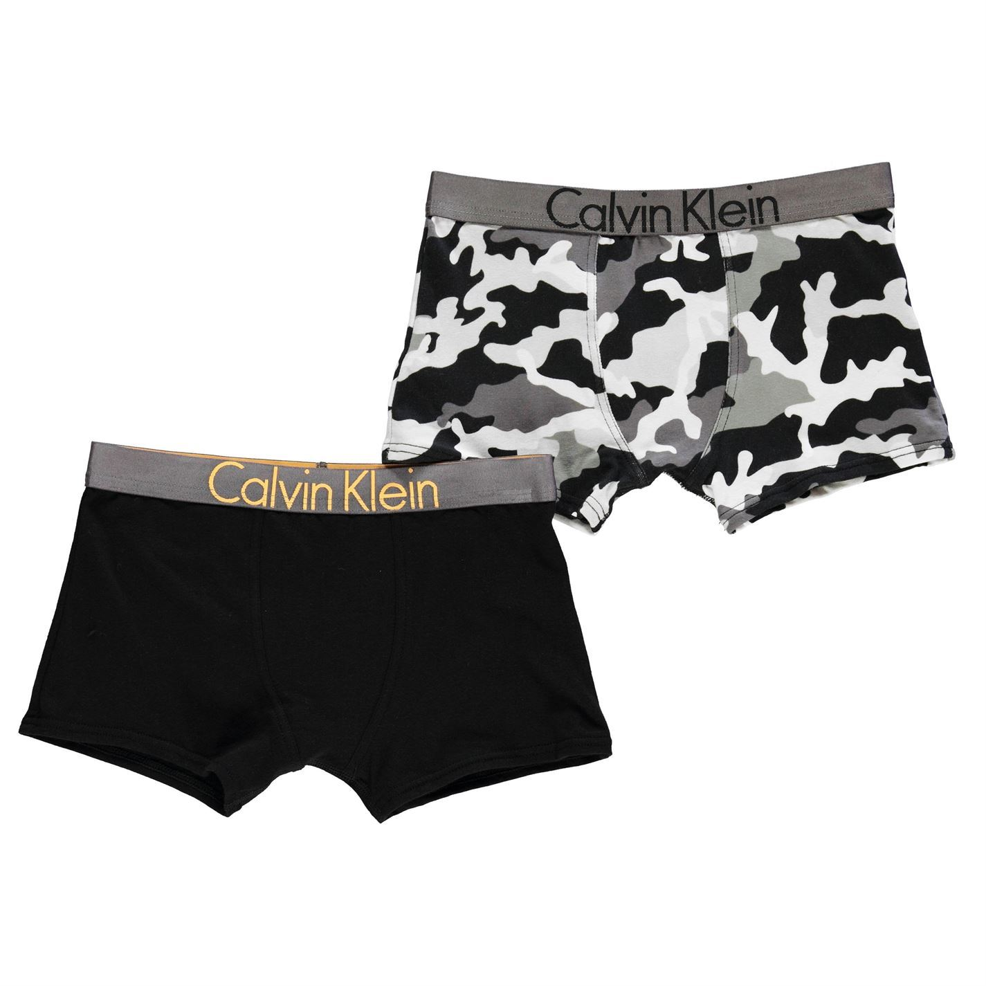 b000d7cf22 Kids Calvin Klein 2 Pack Camo Trunks Underwear Stretch New | eBay