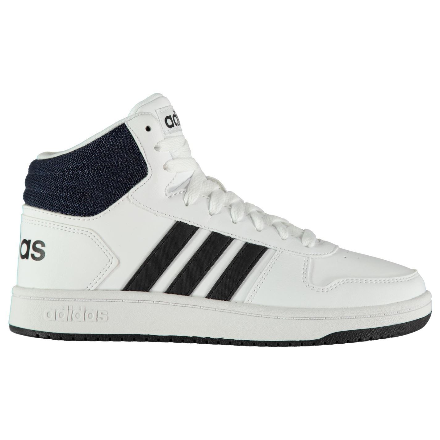 adidas Hoops Mid Top Sneakers Mens Gents High Padded Ankle Collar ... 0fa98b6ee2