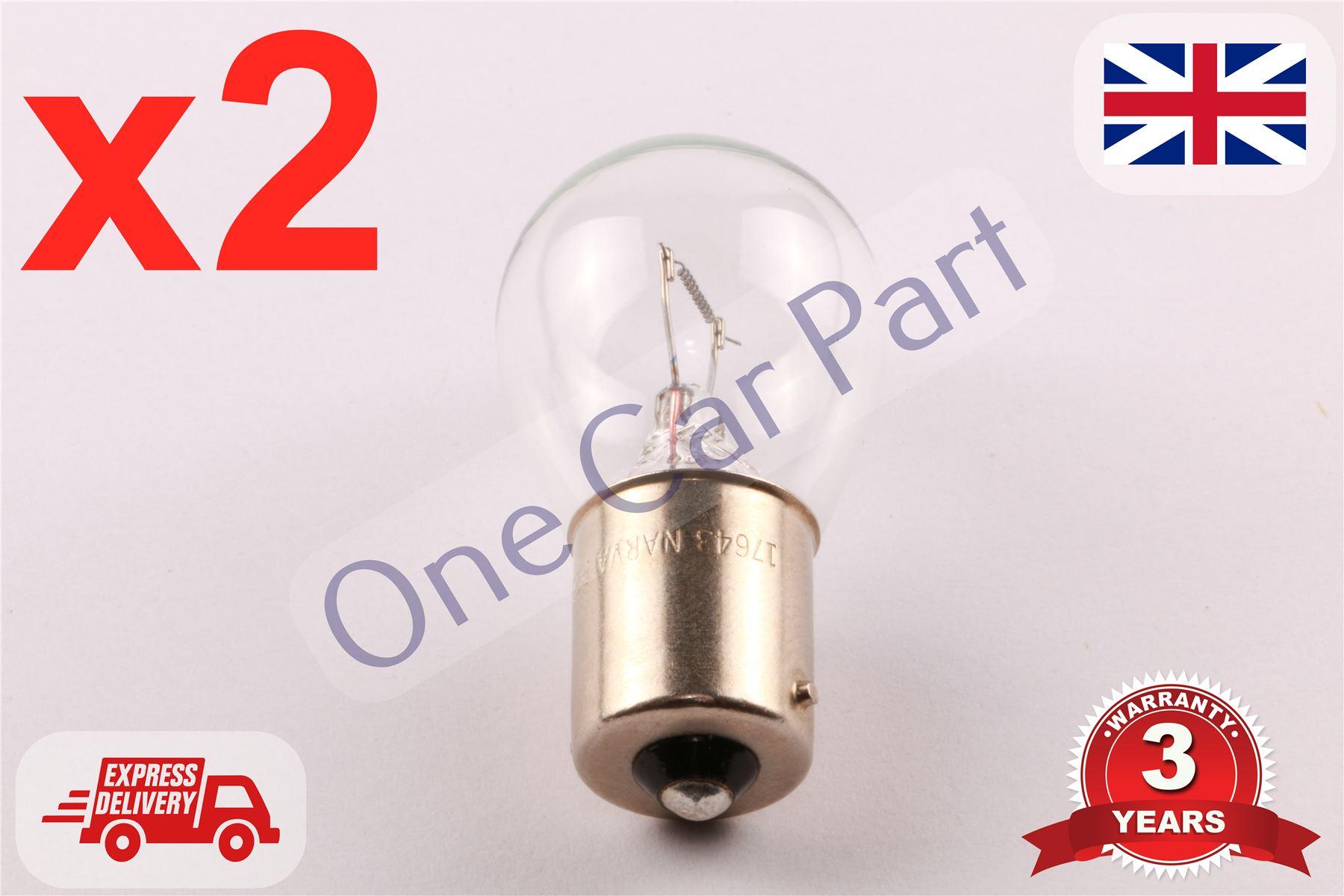 2x 24 VOLT SCC BA15s Bulb Brake Indicator Reverse Rear Fog Van Lorry 24W