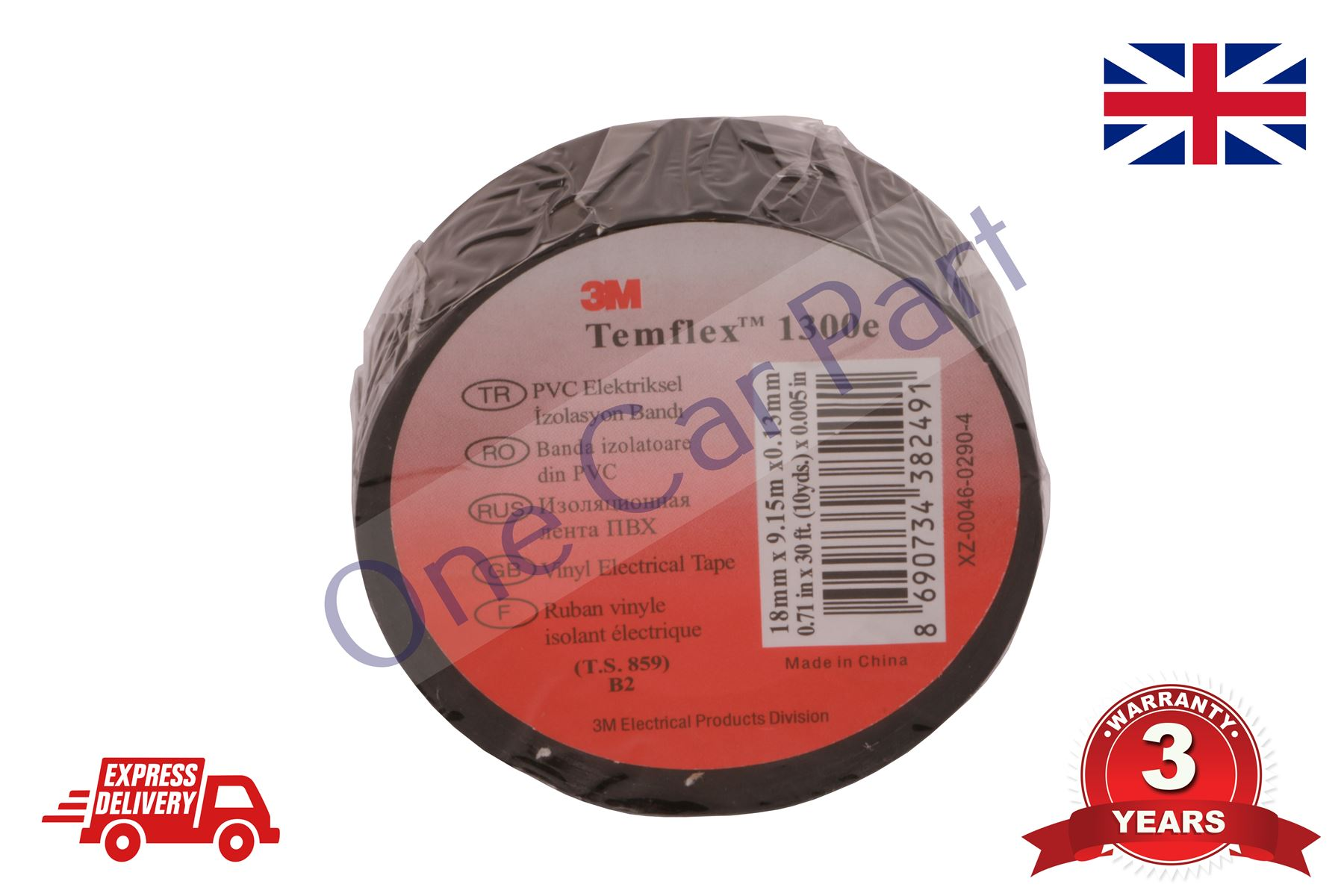 3M 1x Temflex Insulation//Isolation//Electrical Tape 15mm x 10m Black