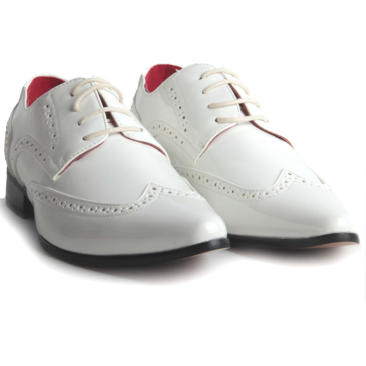 Mens-Smart-Lace-Up-Pointed-Toe-Brogue-Formal-Patent-Leather-Lined-Shoes thumbnail 13