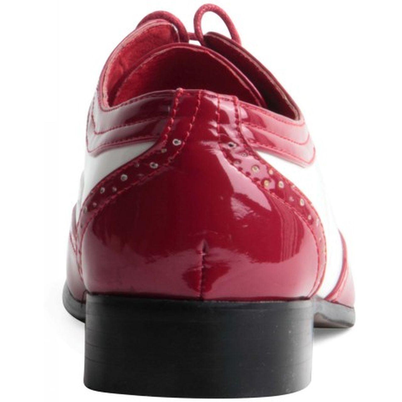Mens Spectator Two Tone Black Red Wingtip Brogue Gangster Shoe