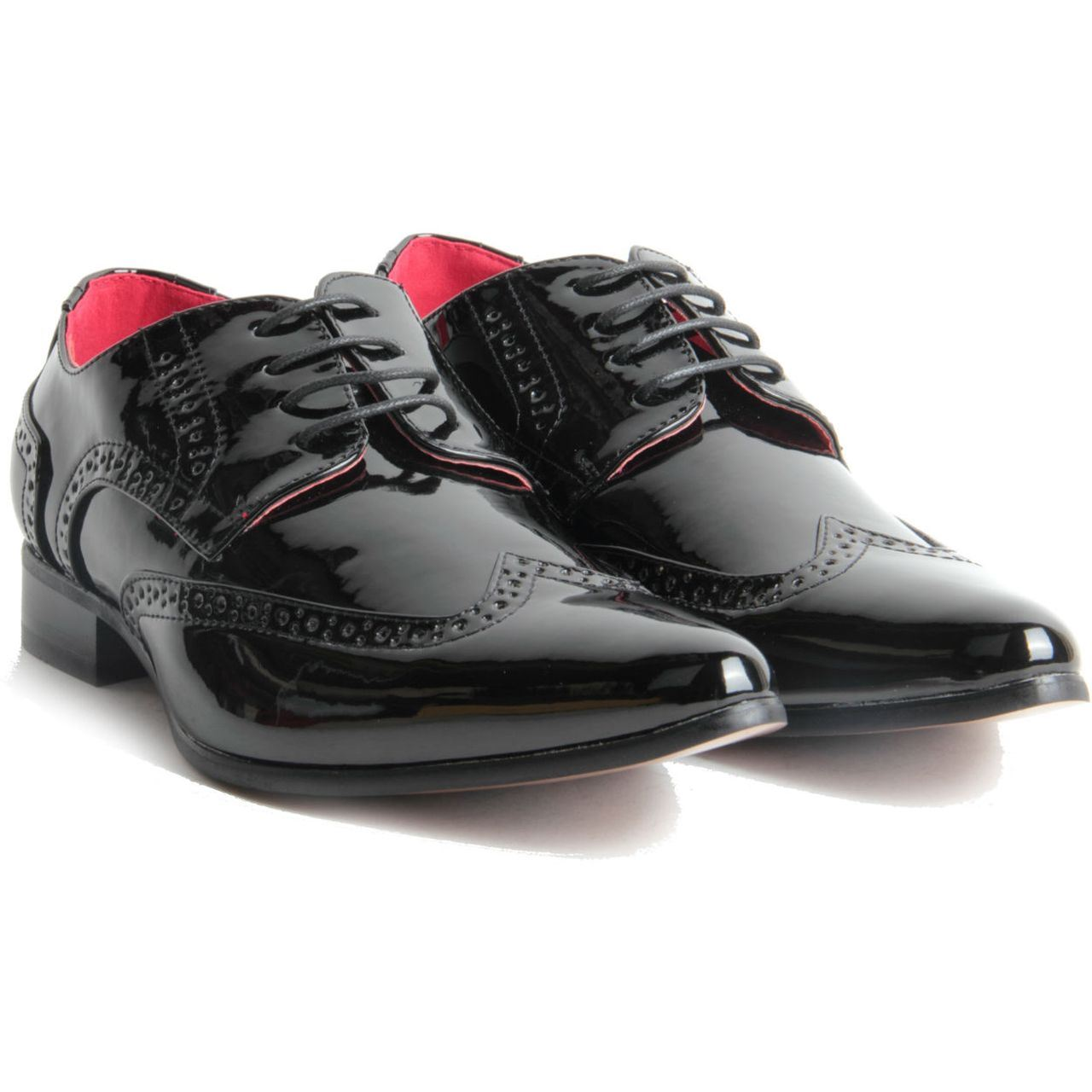 Mens-Smart-Lace-Up-Pointed-Toe-Brogue-Formal-Patent-Leather-Lined-Shoes thumbnail 4