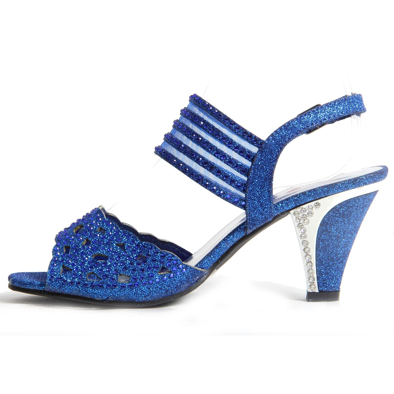 07755b73434 Womens Ladies Sparkling Diamante Block Heel Party Shoes Buckle Up ...