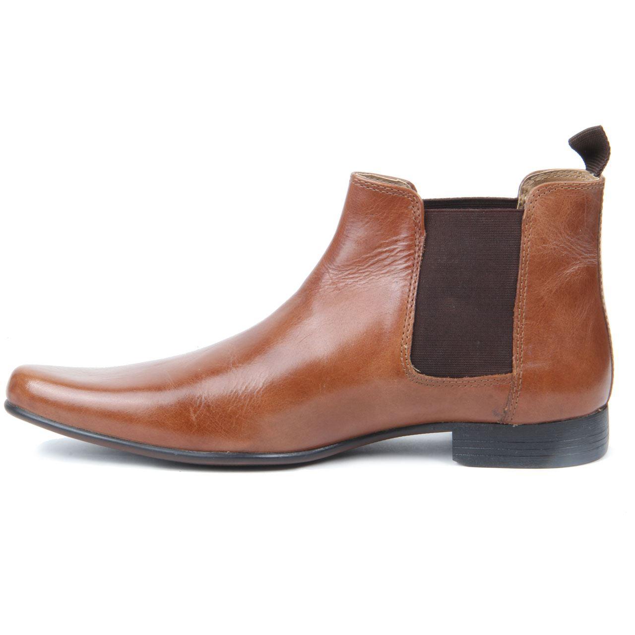 Boys Kids Slip On Genuine Leather Western Heel Pointed Toe Chelsea Boots