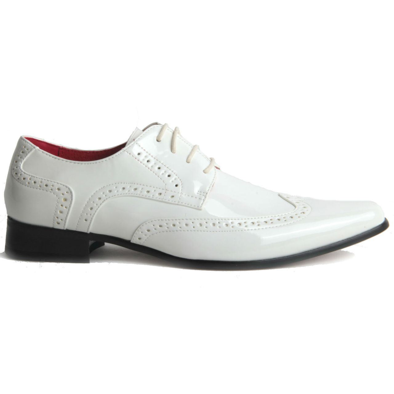 Mens-Smart-Lace-Up-Pointed-Toe-Brogue-Formal-Patent-Leather-Lined-Shoes thumbnail 12