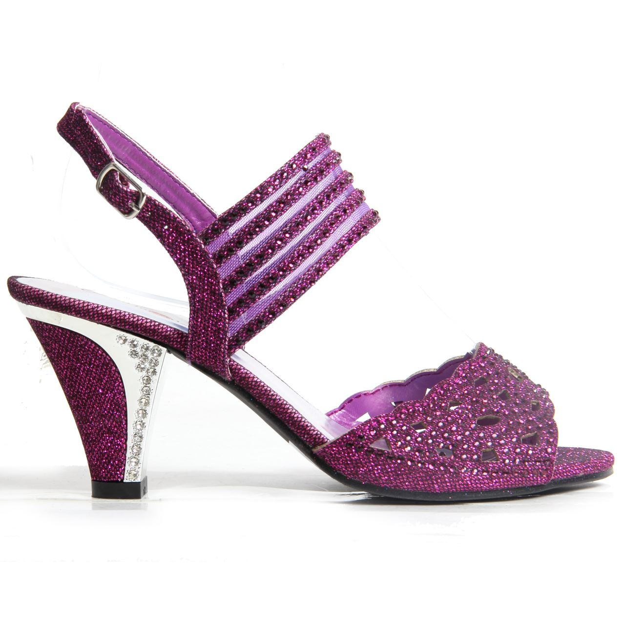 2379f2349600 Womens Ladies Sparkling Diamante Block Heel Party Shoes Buckle Up ...