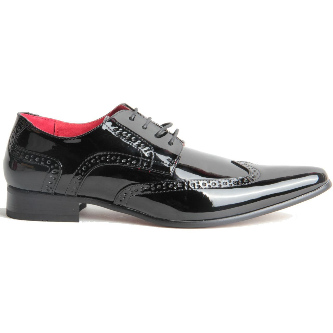 Mens-Smart-Lace-Up-Pointed-Toe-Brogue-Formal-Patent-Leather-Lined-Shoes thumbnail 3