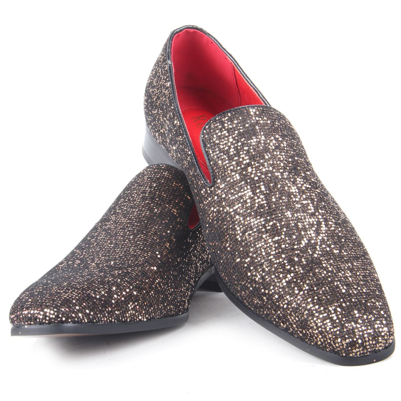 mens sparkling slip on shoes glitter sequin wear