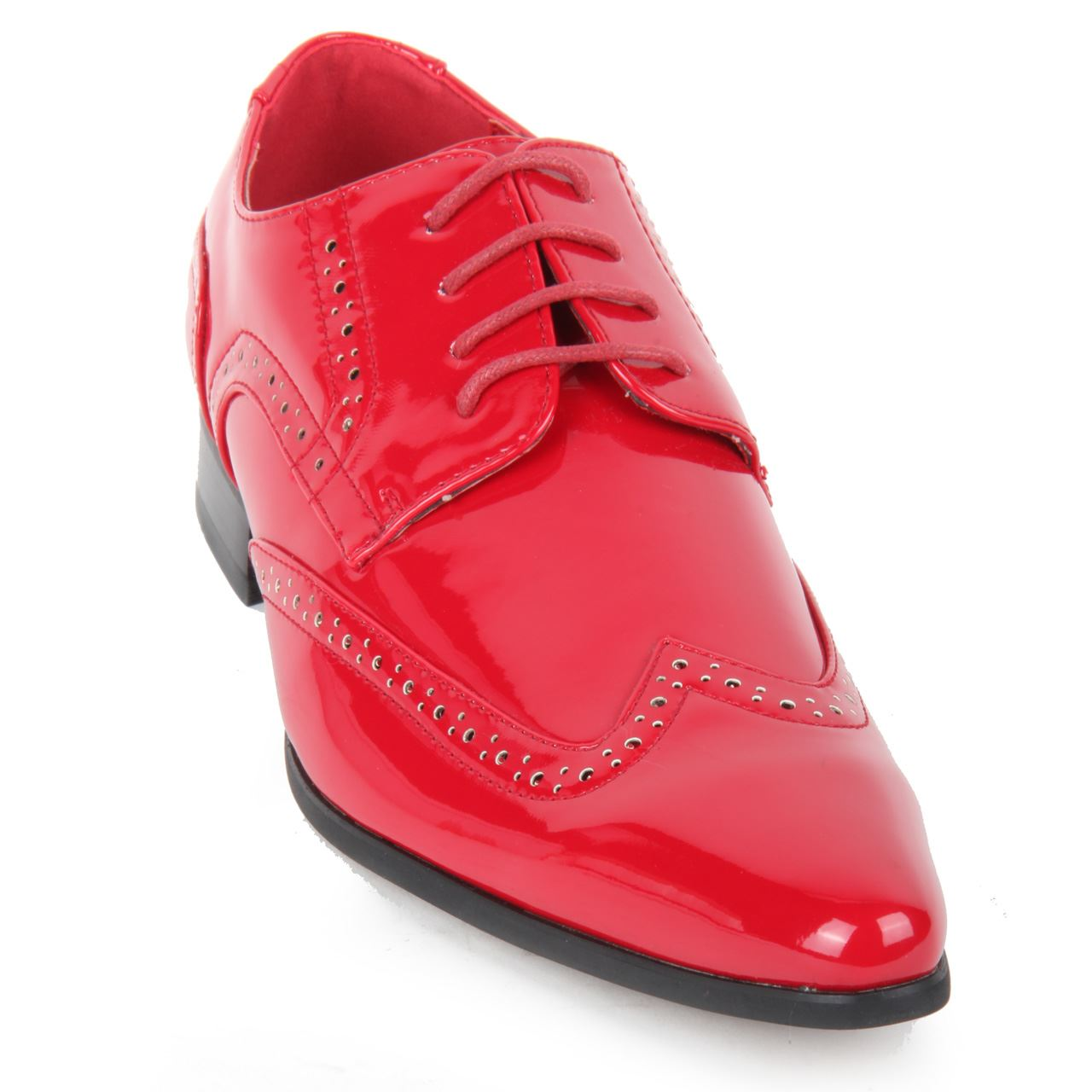 Mens-Smart-Lace-Up-Pointed-Toe-Brogue-Formal-Patent-Leather-Lined-Shoes thumbnail 8