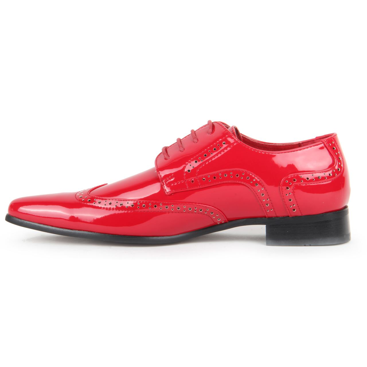 Mens-Smart-Lace-Up-Pointed-Toe-Brogue-Formal-Patent-Leather-Lined-Shoes thumbnail 7