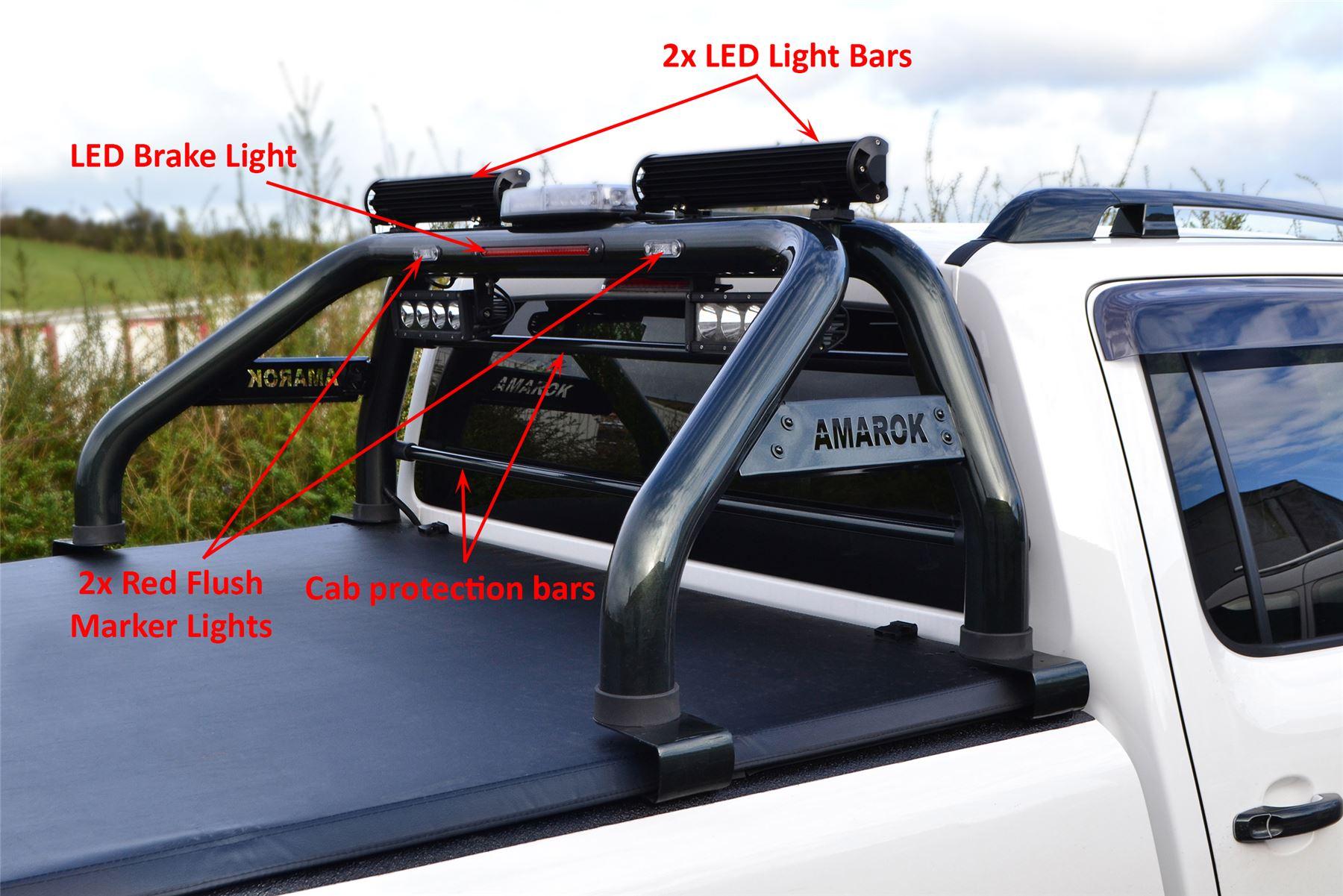 To fit 10 16 volkswagen amarok roll bar leds brake light light to fit 10 16 volkswagen amarok roll bar leds brake light light bar black aloadofball Image collections