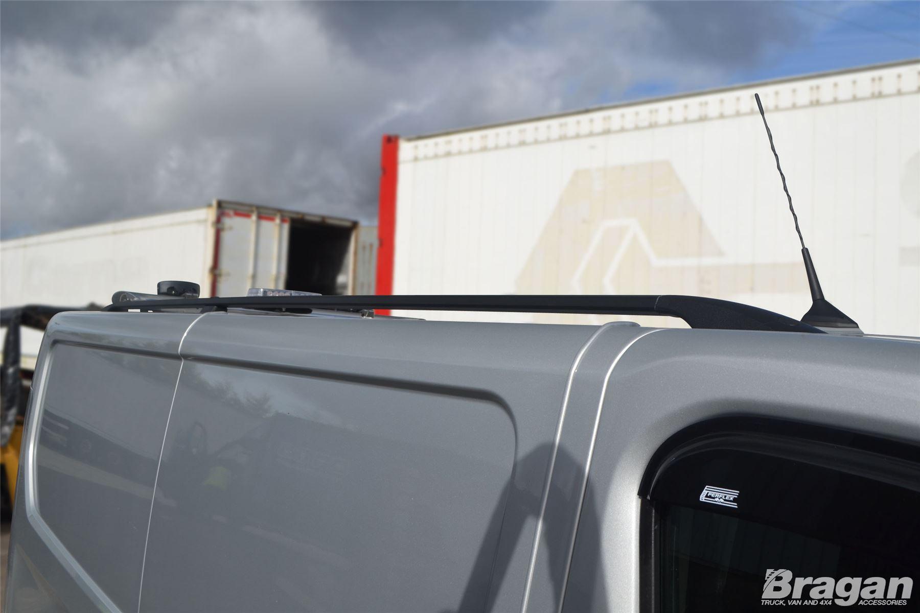 To Fit 02 14 Renault Trafic Swb Black Aluminium Roof Rails