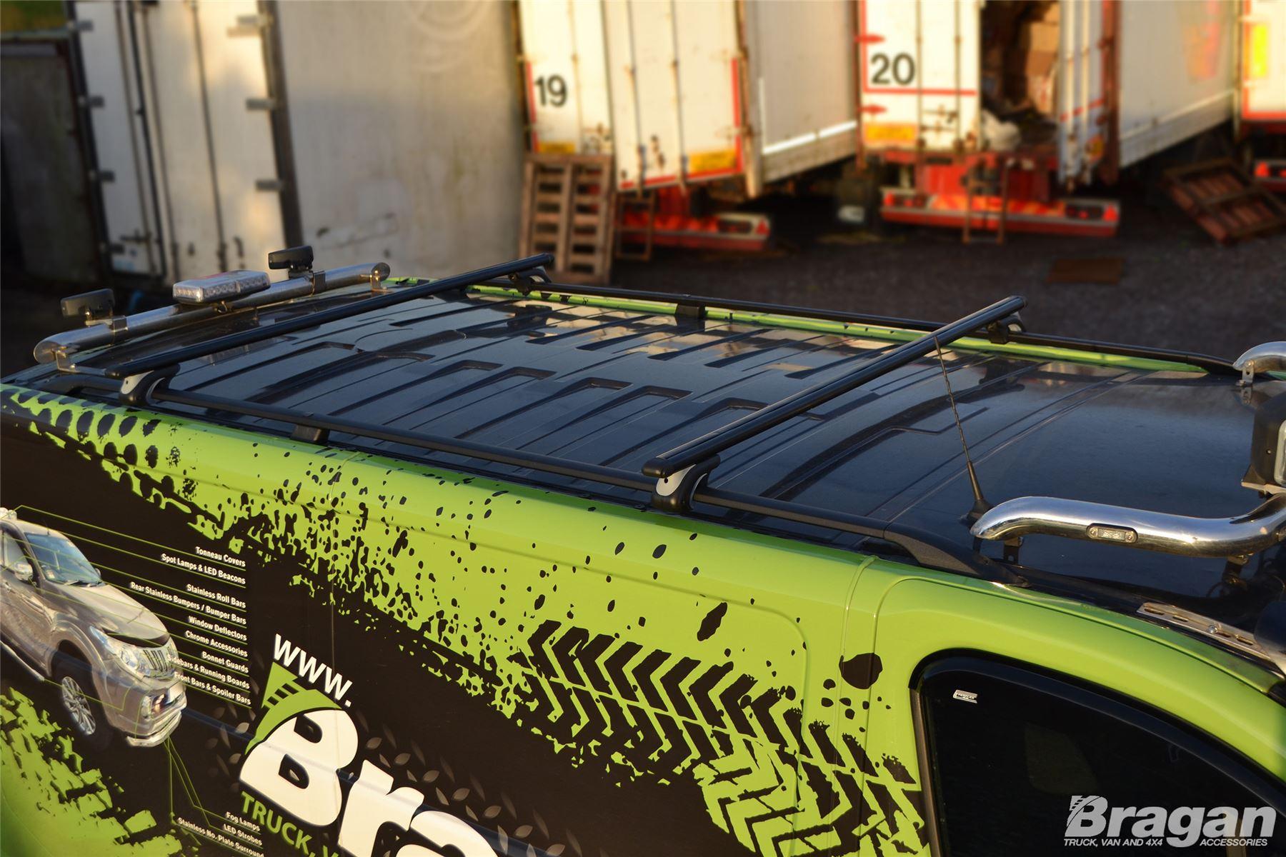 To Fit 2014 Load Stops Opel Vauxhall Vivaro LWB Black Roof Rail Cross Bars