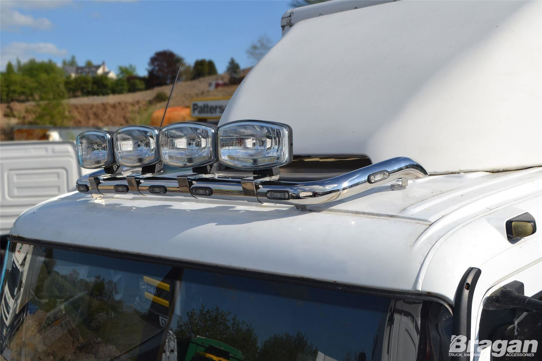 Details about To Fit Iveco Eurocargo Steel Flat Low Front Roof Light Bar B  + Spots + Clamps