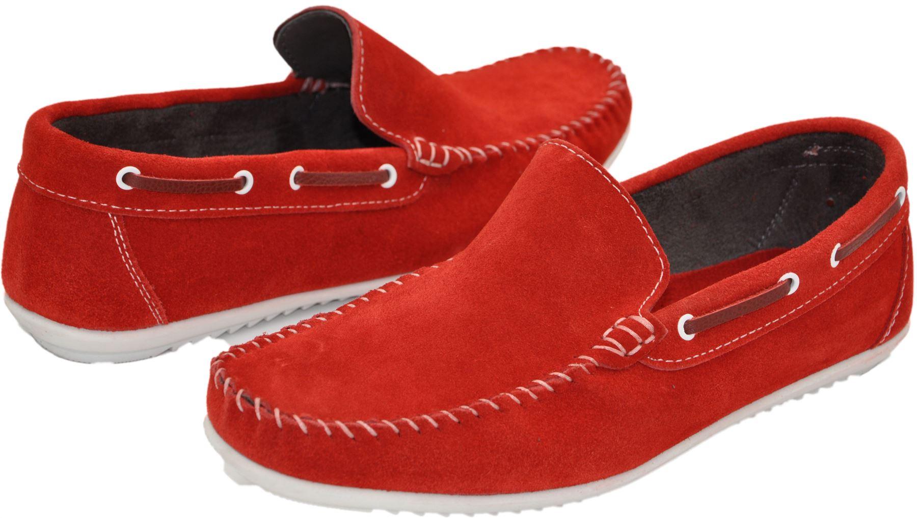 Mocassins bateau homme rouge et blanc nubuck dr28 3mhiVypK