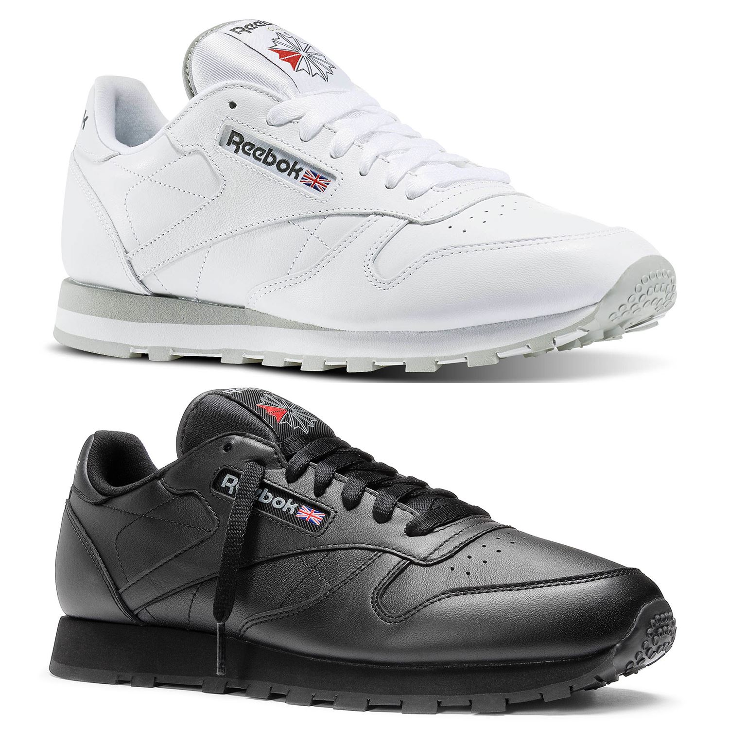 Details about REEBOK CLASSIC TRAINERS RETRO LEATHER BLACK WHITE GREY 7 - 12  SNEAKERS SHOES 0da5ae80b
