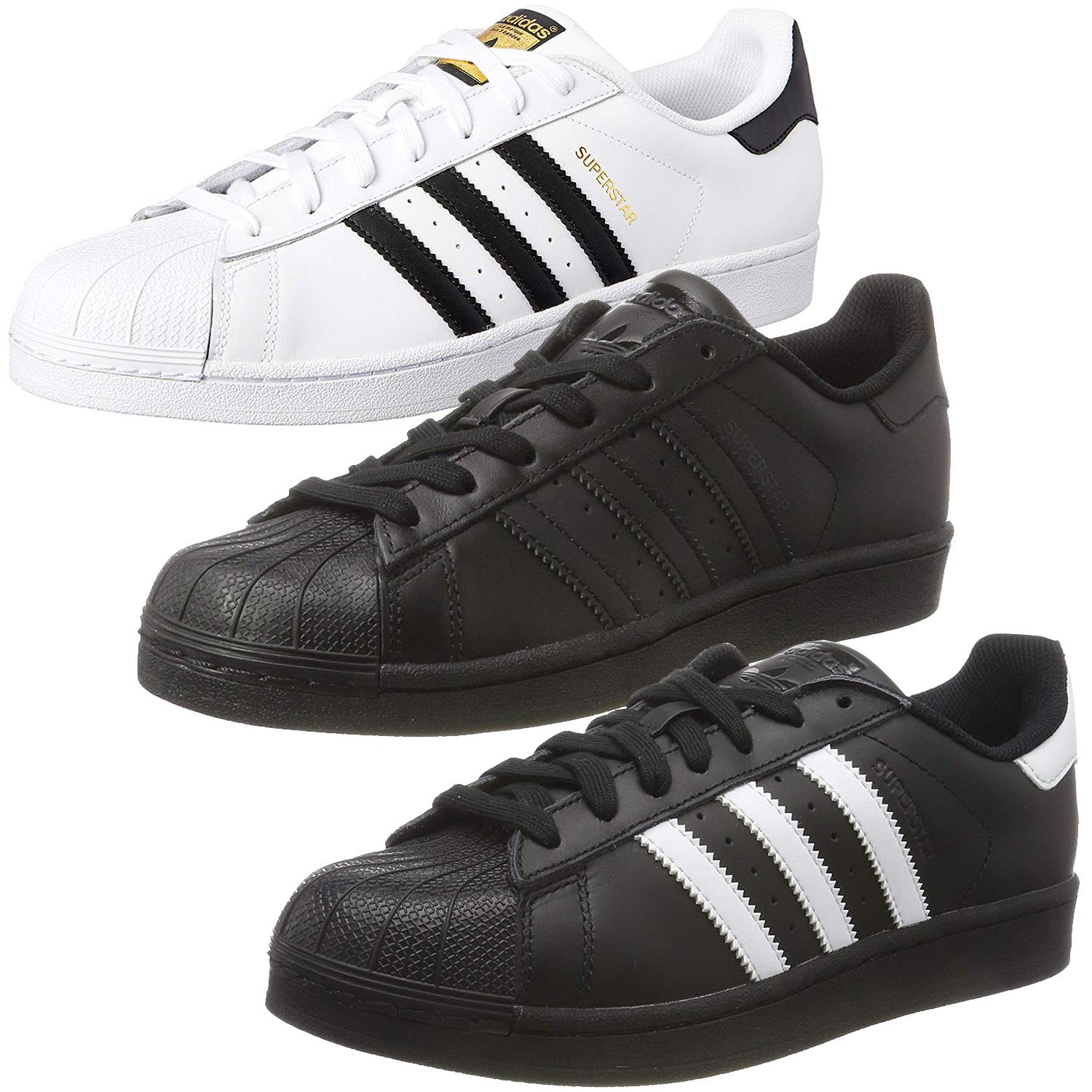"ADIDAS SUPERSTARS BLACK WHITE LEATHER TRAINER /""SHELL TOE/"" STYLES UK 7 TO 12"