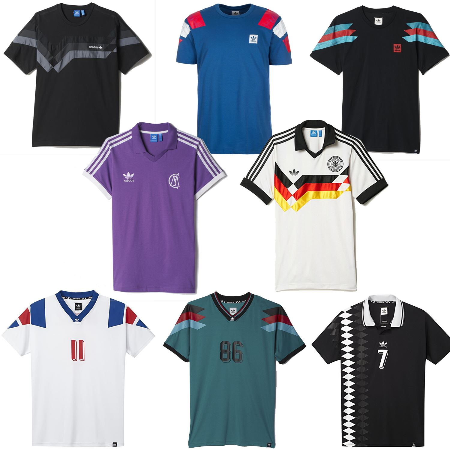 Details about adidas ORIGINALS RETRO FOOTBALL JERSEYS FRANCE GERMANY SPAIN REAL MADRID MEN'S