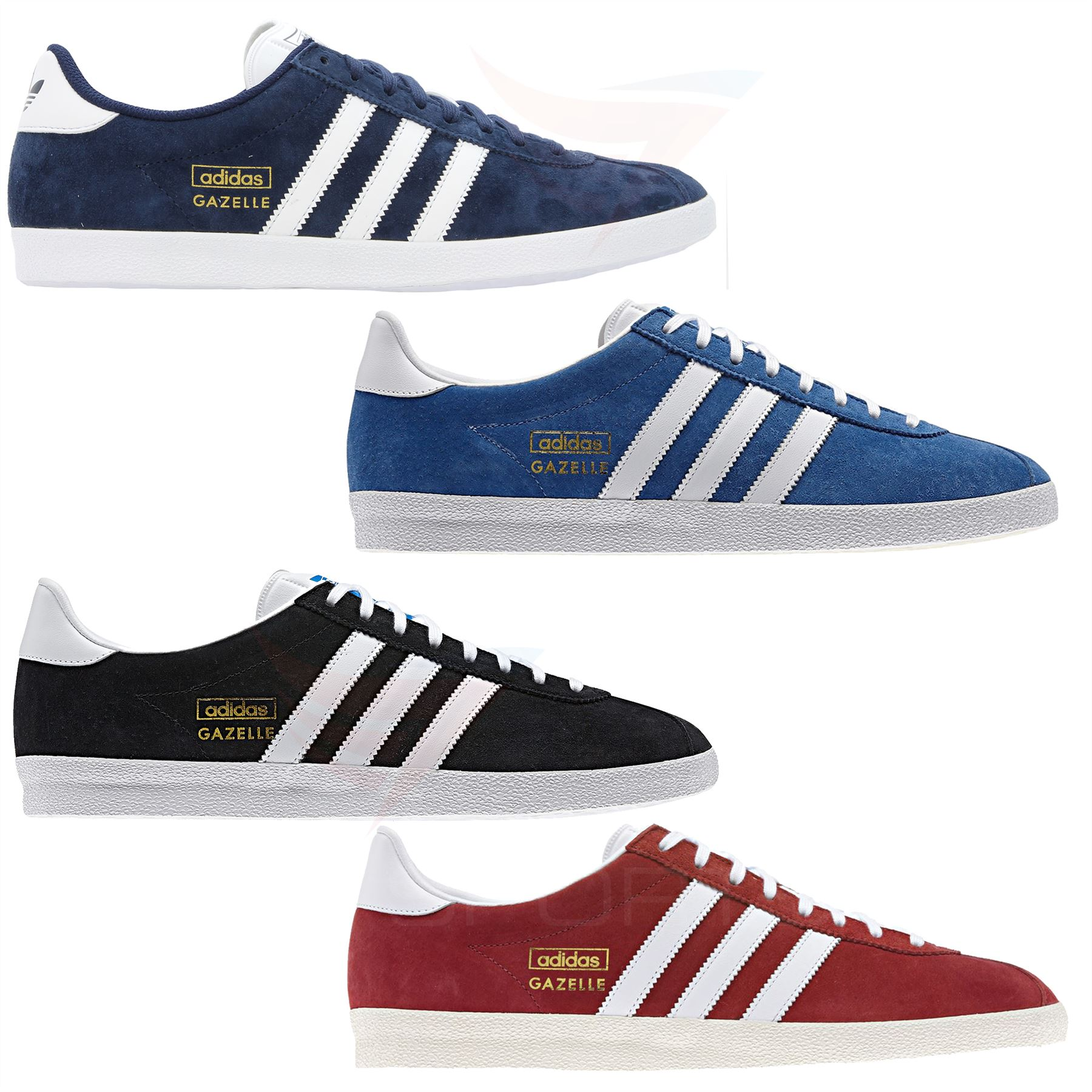 low priced 4eb5f 8fcb5 adidas GAZELLE OG TRAINERS SNEAKERS ORIGINALS SUEDE RED BLUE BLACK NAVY  GOLD MEN