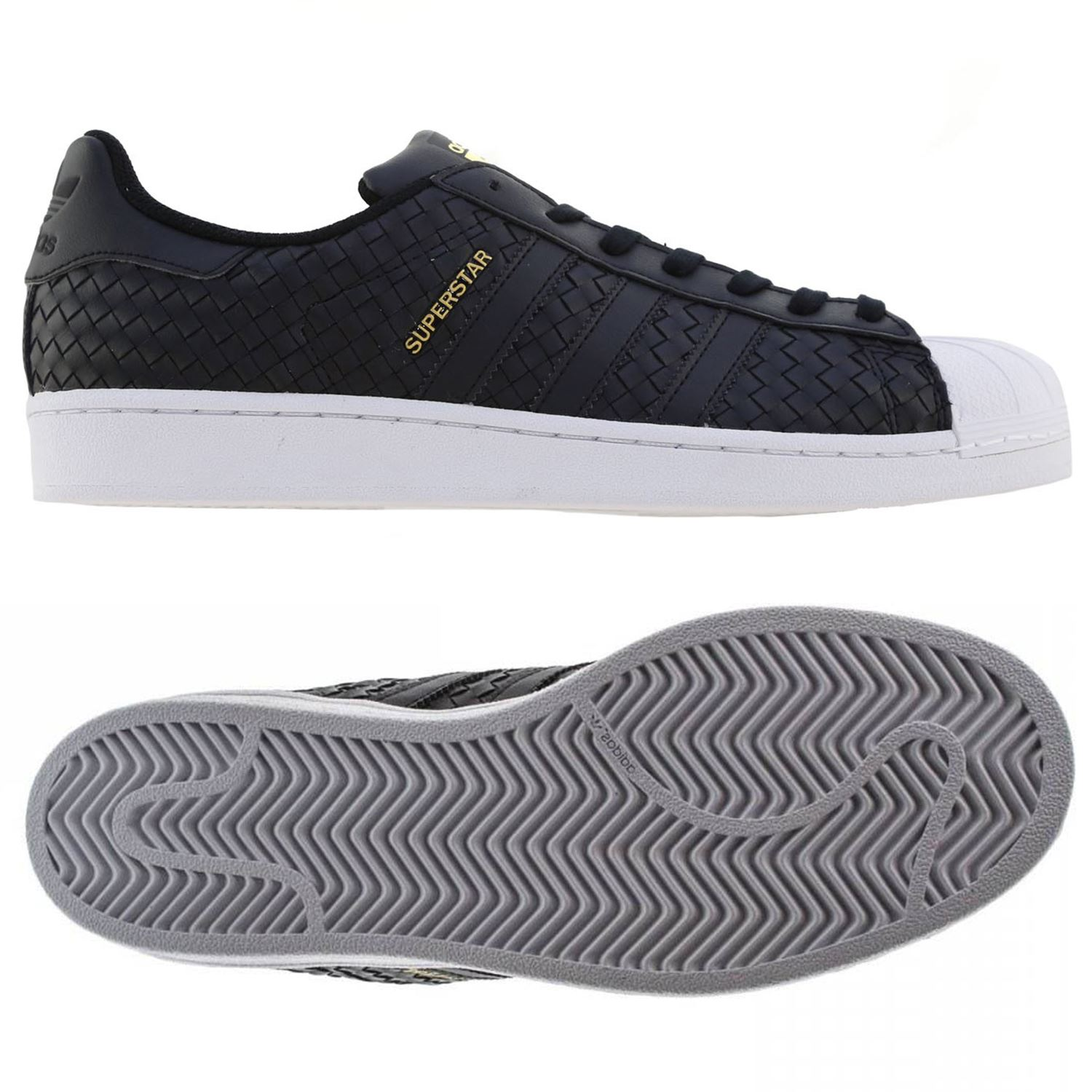 new product 7e1b2 1797e Details about adidas ORIGINALS SUPERSTAR WOVEN TRAINERS BLACK WHITE SHELL  TOE TREFOIL RETRO