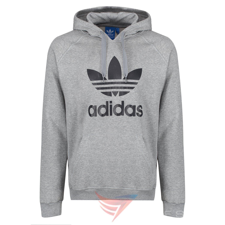 Adidas ORIGINALS TREFOIL 3 feuille HOODIE gris SWEATSHIRT S M L XL pull  chaud 917a9501f15f