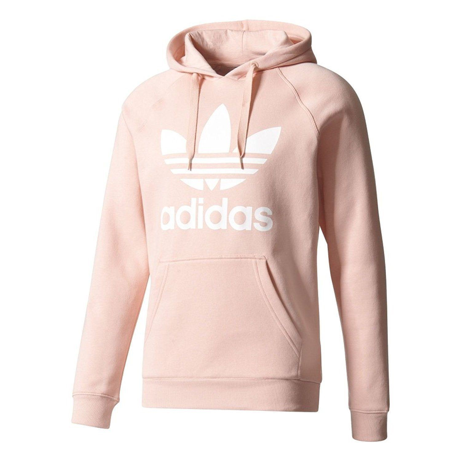 Details about adidas ORIGINALS TREFOIL HOODIE PINK MEN'S WARM COMFY HOODED RETRO PULLOVER NEW