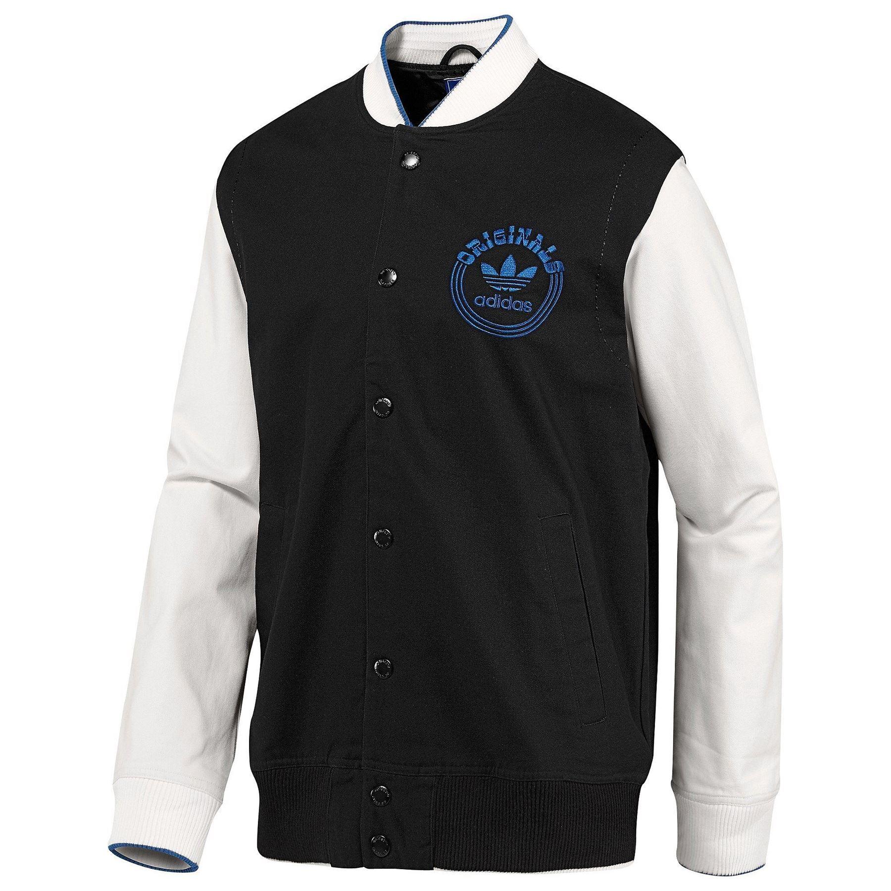 Details zu Adidas Original Varsity Jacke Schwarz Weiß Spo Selten Balance Trefoil HERREN